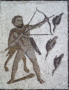 Mosaico Trabajos Hércules (M.A.N. Madrid) Herakles ve Stymphalos kuşları