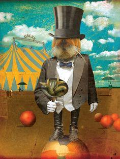 Circus-Circus: Will Work for Food :: © David Vogin Illustration