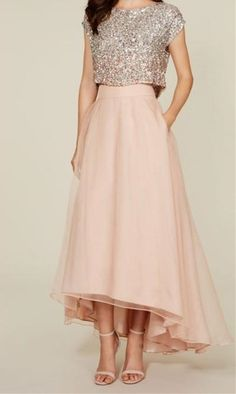 Two Pieces Prom Dress,A Line Prom Dress,Sequins Prom