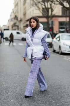 P2 2P Chic Patterned Pantsuit, Dope Chic Puffer Jacket, Heels