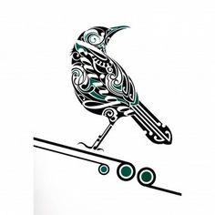 Tui Kainga by Shane Hansen for Sale - New Zealand Art Prints Maori Maori Tattoo Frau, Ta Moko Tattoo, Doodles Zentangles, Zentangle Patterns, Tui Bird, Maori Patterns, Bird Stencil, Stencil Art, Maori Designs
