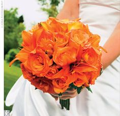 Orange roses with Asiatic Lillies bouquet need to break it up with the grey