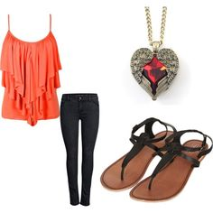 A fashion look from February 2014 featuring ONLY jeans and Topshop sandals. Browse and shop related looks.