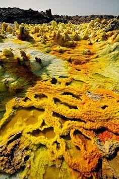 Acid lakes at the Dallol Volcano in Danakil Desert, Ethiopia