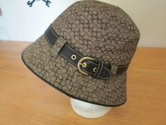 NWT Small Logo Coach Signature Khaki Jacquard Leather Bucket Hat Size P/S #Coach #Bucket