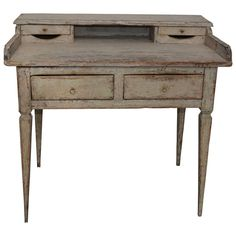 Small Gustavian Writing Desk With Original Paint | From a unique collection of antique and modern desks and writing tables at http://www.1stdibs.com/furniture/tables/desks-writing-tables/
