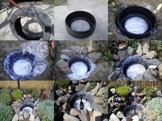 Garden pond made with old car tire