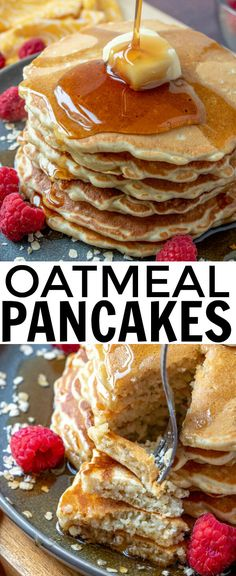 Oatmeal Pancakes – A Hearty and Delicious Breakfast! Easy, hearty and perfect for breakfast these Oatmeal Pancakes are the perfect morning dish that are quick, flavorful and packed full of deliciousness. Oatmeal Pancakes Easy, Breakfast Pancakes, Keto Pancakes, Pancakes With Oats, Health Pancakes, Waffles, Diabetic Breakfast, Breakfast Recipes, Breakfast Ideas