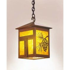 Steel Partners Mission 1 Light Outdoor Hanging Lantern Finish: Old Iron, Shade Type: Bungalow Green