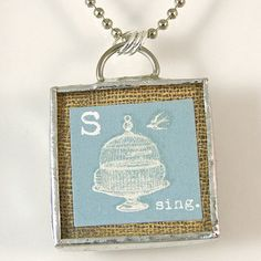 S is for Sing Reversible Pendant Necklace by XOHandworks $20