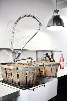 amazing baskets ~ anyone know where to get these???  I neeed them! vintage wood fruit baskets.