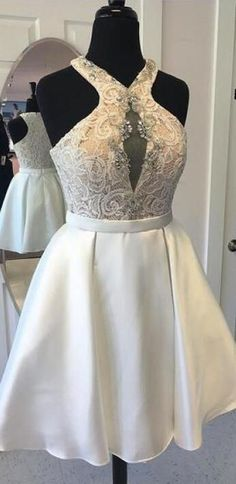 Cute A Line Halter White Satin Short Homecoming Dresses with Beading ,Lace Short Prom Dresses Cheap Short Prom Dresses, Best Prom Dresses, Homecoming Dresses, Elegant Dresses For Women, Formal Evening Dresses, Special Occasion Dresses, White Satin, Ball Gowns, Dress Party
