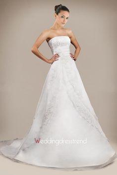 Best Floral Strapless A-line Chapel Train Lace Wedding Dress - Cheap Wedding Dresses Wholesale and Retail Online Store