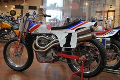 One of the more rare Honda racebikes ever, the NS750. Mike Kidd brought the #1 plate to Honda and rode the NS750D. Basically a CX500 engine, mounted sideways in the frame, converted to chain drive, bored and stroked. It made good power but had trouble with traction