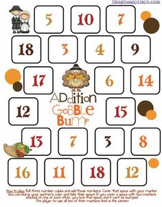 """Addition """"Gobble Bump"""" math game {free download}"""