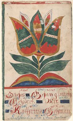 Bookplate (Bücherzeichen) for Kathrine Gehman - Fraktur