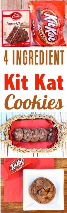 These Easy Kit Kat Cookies are the ultimate treat for… Chocolate Cookie Recipes! These Easy Kit Kat Cookies are the ultimate treat for chocolate lovers… just 4 Ingredients and SO delicious! Make some for dessert this weekend! Brownie Desserts, Oreo Dessert, Mini Desserts, Chocolate Cookie Recipes, Just Desserts, Delicious Desserts, Yummy Food, Delicious Chocolate, Easy Recipes For Desserts
