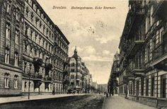Ulica Mikołaja Reja (Hedwig Strasse) widok na skrzyżowanie z ulicą Henryka Sienkiewicza (Stern Strasse) - widok w kierunku północnym.