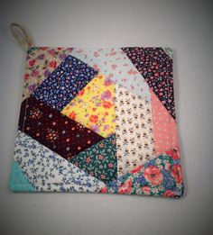 Quilt potholder Crazy quilt hot pad Scrap quilt by AlwaysStitches