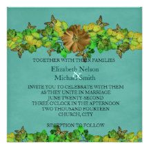 Unique Butterfly Fall Cyan Leaves Wedding Invite