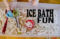 Ice bath activity for preschool sensory play, can be used in winter theme or summer to cool down.