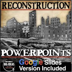 Reconstruction PowerPoints with embedded Youtube video links and lecture notes. Enclosed are four edible slideshows (25 slides total) that covers cause and effects and the significance of the events during Reconstruction. Included is an assessment that covers everything from the PowerPoint. Use it ... #HistoryLessonPlans #socialstudies Teaching American History, American History Lessons, Teaching History, Us History, History Lesson Plans, Youtube Video Link, Teaching Social Studies, Cause And Effect, Teaching Activities