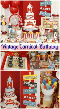 Great vintage carnival 1st birthday party ideas! See more party ideas at CatchMyParty.com. #vintage #boybirthday #carnival