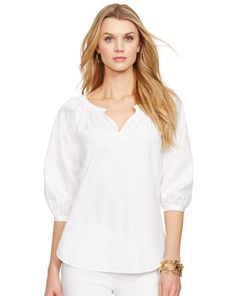 Cotton Split-Neck Tunic - Lauren Shirts & Blouses - RalphLauren.com
