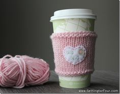 Knitted Cup Cozy from Setting for Four #valentine #craft #cup #cozy