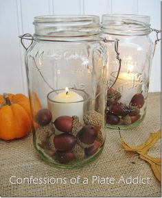 Jar Candle - just add a votive candle and some acorns, glass gems, or rocks, etc: Confessions of a Plate Addict