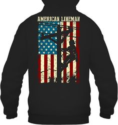 Lineman American flag Electric Cable Back #lineman #powerline #electricalsafety #utility #safetyisnumberone #powerdistribution #repost #linelife⚡️ #linelife #ibew #linemanlife #apprenticelineman #linemanproblems #linemanattitude #linemanboots #tbthursday #tbt #throwback #throwback🔙 #throwitback #linemantools #linelife #oldschool #oldies Lineman Tools, Lineman Gifts, Electrical Safety, Exclusive Collection, Gifts For Father, American Flag, Cable, Graphic Sweatshirt, Sweatshirts