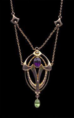 MURRLE BENNETT & Co 1896-1916 Art Nouveau Necklace Gold Amethyst Peridot