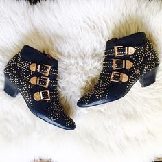 """Jeffrey Campbell ✨ STARBURST✨ Studded Ankle Boot Jeffrey Campbell ✨ STARBURST✨ Studded Black Leather Ankle Boot bootie covered in tiny gold studs, 3 gold tone side buckles and an inside zipper. 2"""" heel makes them super comfortable and you will get tons of compliments. These booties have been worn and loved and have a couple little flaws pictured in the last photo: three tiny studs missing from the left shoe, a couple nicks in the heel & tiny bit of discoloration near the sole from wear. None…"""