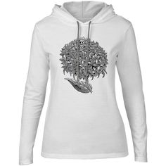 Mintage Floral Design Womens Fine Jersey Hooded T-Shirt