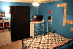 My new black, white, teal & red bedroom :)