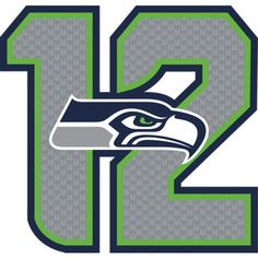 "Seattle Seahawks 12 Logo Type: REAL.BIG. Fathead Wall Graphics Dimensions: (W x H) 3'3"" x 3'1"""