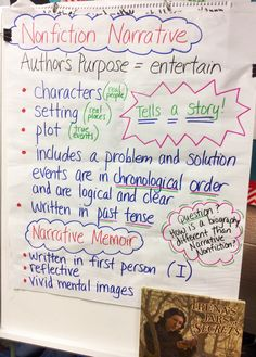 Narrative writing, which focuses on telling a story, usually takes the form of a 5th Grade Writing, 6th Grade Ela, 4th Grade Reading, Kids Writing, Writing Skills, Writing Ideas, Fourth Grade, Third Grade, Narrative Anchor Chart