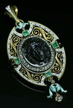Renaissance revival cameo pendant/brooch, French, 1870s. Natural carved onyx, emeralds, rose-dut diamonds, enamel and 18K gold.