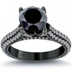 3.63 Carat Certified Natural Black Diamond Engagement Ring 14k Black Gold