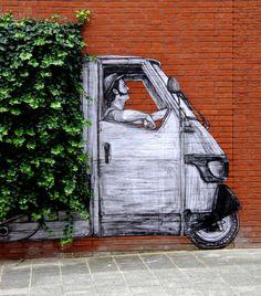 Street Wall Art, Graffiti Wall Art, Murals Street Art, Best Street Art, Baggage Quote, Interactive Art, Z Arts, Office Wall Art, Funny Art
