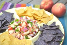 White (Hot) Peach Salsa (I made it without the hot sauce and it's excellent!)