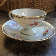 """Noritake Japan Hand Painted """"DRESDLINA"""" Pattern, Tea Cup and Saucer"""