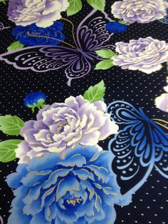 Yardage cotton fabric / Japanese fashion : dark blue , peony , butterfly , kawaii , gorgeous , / width 110 cm ( 42.9 inches )
