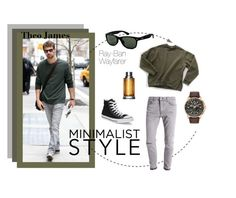 """""""Theo James: minimalist style"""" by visiondirect ❤ liked on Polyvore featuring Topman, Converse, Ray-Ban, BOSS Hugo Boss, Citizen, men's fashion and menswear"""