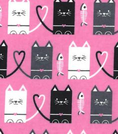 Snuggle Flannel Fabric Cat Hearts