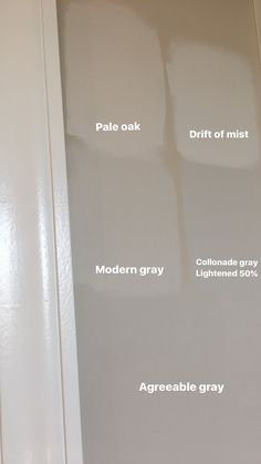 Pale Oak, Modern Gray, Drift of Mist, Colonnade Gray, Agreeable Gray. Sherwin Williams Paint. Benjamin Moore Paint.