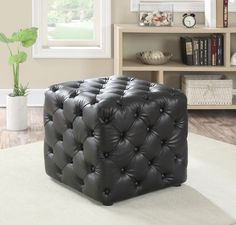 This Norris ottoman will be a nice addition to your home. Use in your living room, family room, or other areas for a comfortable touch. The cube shaped ottoman Upholstered Storage Bench, Upholstered Ottoman, Ottoman Bench, Leather Pouf, Leather Ottoman, Pu Leather, Cubes, Leather Cocktail Ottoman, Black Ottoman
