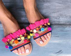 "Boho Sandals ""Magellanica"", Pom pom sandals, Greek sandals, bohemian sandals, handmade sandals, slip on sandals, gypsy sandals, slides"