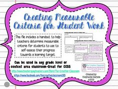 As we all know, a major component of the Common Core State Standards is students being able to self assess their learning and evaluating the work they produce. Therefore, it is our job as teachers to provide students with a list of measurable criteria that they can use to self assess their progress towards a learning target.