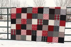Black and Red plaid flannel quilt - Diary of a Quilter - a . Flannel Quilts, Plaid Quilt, Patchwork Blanket, Fall Quilts, Plaid Flannel, Denim Quilts, Red And Black Flannel, Black Plaid, Black White